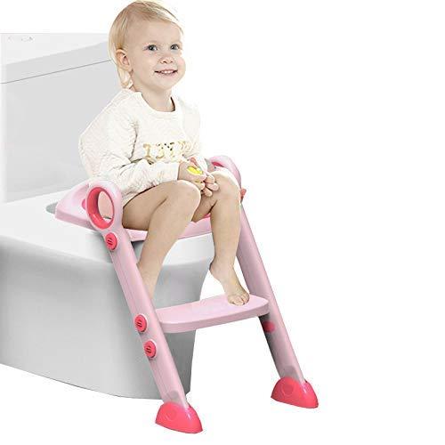 Wc Reducer (Einstellbare Baby Potty Training Seat mit Stufen WC Training Leiter Kleinkind Leiter WC Sitz Schritte für Baby/Kinder 2-8 Jahre alt (pink))