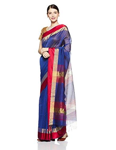 Gocoop Silk Saree With Blouse Piece (GCMAHSCSAA0155_Royal Blue_One Size)