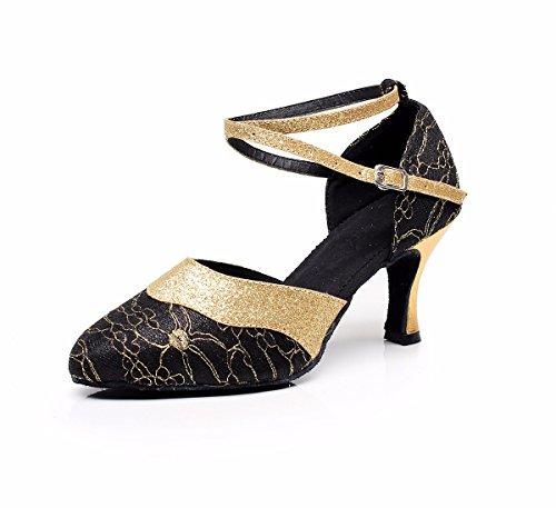 JINGXINSTOREDonna Scarpe da ballo salsa latino Satin sandali tacchi Professional Indoor Nero