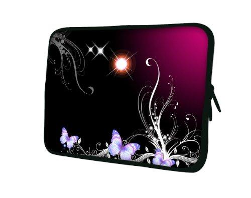 wortek Universal Notebooktasche Sleeve aus Neopren für Laptop bis ca. 10,2 Zoll - Schmetterling Ranke Schwarz Rot