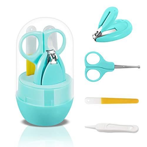 SONARIN Transparenter Deckel Baby Nagel Kit, 4-in-1 Baby Pflege set, mit Baby Nagelknipser,Schere,Nagelfeile und Pinzette, Baby Nagelpflege Set für Neugeborene oder Kleinkinder(Grün)