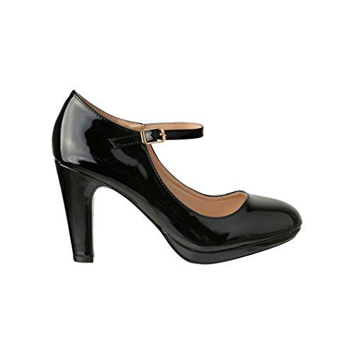 Elara Damen Pumps | Bequeme High Heels Lack-Optik | Vintage-Style | Abendschuh Trendy | Chunkyrayan | 118-7 Black-39 - 3