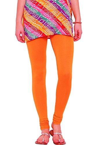 Senorita Fashions Women's Cotton Leggings(SF7_Orange_Free Size)