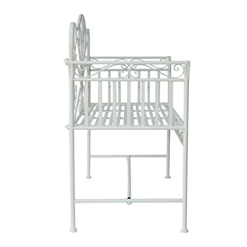 Outsunny Garden 2-Sitzer Metall Bench Park Platz Outdoor Möbel W/Dekorative Rückenlehne weiß - 6