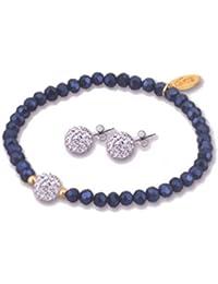 65f1ea70aa44 Lotus Silver - Conjunto de pulsera y pendientes color azul oscuro - LP1237-2
