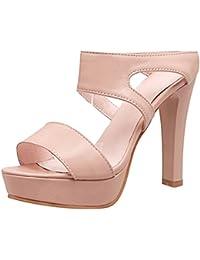 COOLCEPT Mujer Moda Cordones Sandalias Tacon Ancho Punta Abierta Zapatos Fleco (38 EU,Pink)