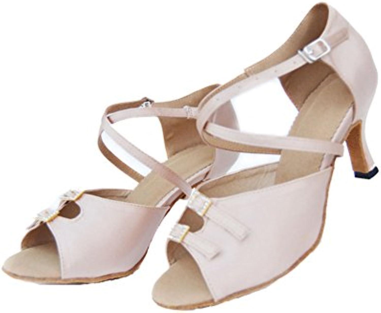 GUOSHIJITUAN Frauen Latein TanzschuheStrass High Heels Dancing Schuhe Leise Unten Ballroom Dance Schuhe