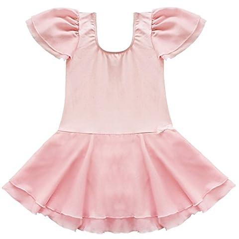 FEESHOW Kids Girls Tutu Ballet Dance Dress Gymnastics Leotard Costume Skirt Pink 2-3 Years