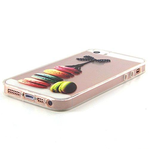 iPhone 5s Hülle Durchsichtig, LuckyW TPU Handyhülle für Apple iPhone 5/5S/SE Soft Silikon Tasche Transparent Schale Clear Klar Hanytasche Durchsichtig Rückschale Ultra Slim Thin Dünne Schutzhülle Weic Colorful Macaron