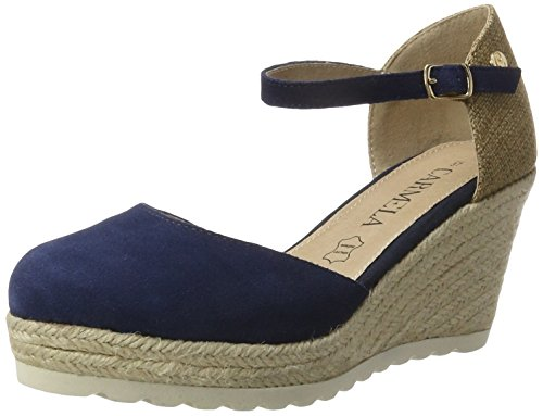 XTI Damen Navy Suede Ladies Shoes Plateausandalen Blau (Navy)