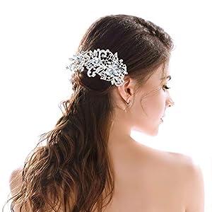 Hatisan-Pro Braut Hochzeit Haar Kamm, Modisch Frau Haar Seite Kamm Haar Clip Kristall Strasssteine Perlen Hochzeit Dekoration Kopfstück für Bräute und Brautjungfern