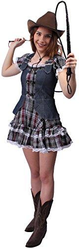 Cowgirl Kostüm braun-weiß für Damen | Größe 42 | 1-teiliges Saloon Girl Kostüm | Western Faschingskostüm für Frauen | Sheriff Kostüm für (Cowgirl Coole Kostüme)