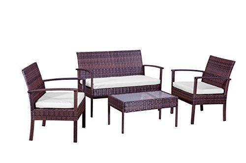 4 places en rotin Ensemble canapé véranda Ensemble de meubles de jardin, 2 chaises, 1 canapé, 1 table basse, Marron