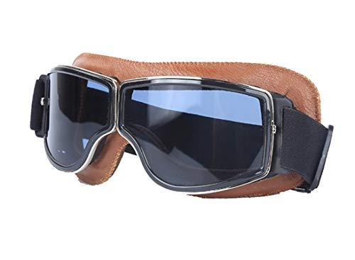 Lafeil Sportbrille Im Sommer Damen Herren Retro Helm Schutzbrille Lokomotive Im Freien Motorrad Schutzbrillen Im Freien Brown Grau