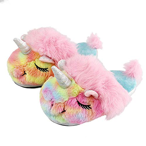 Ruiuzi Women Slippers Colorful Unicorn Soft Cozy Animals Memory Foam Fleece Plush House Warm Indoor Shoes Gifts for Girls
