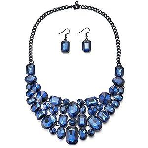 iMECTALII Rote Blase Crystal Cluster schwarz Kette Hals Kragen Kragen Anweisung Anhänger Halskette Ohrring Set