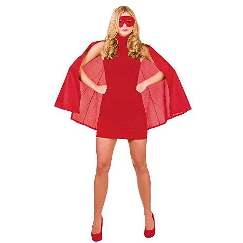 (O) Meine Damen Super Hero Umhang & Maske Outfit Zubehör für Superhero Fancy Dress Damen One Size Rot
