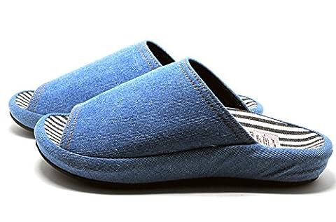 Unisexe à enfiler Chaussons Happy Lily antidérapant Bout ouvert Sandale 3d Structure Mules Robe Tissu de coton Chaussures d'intérieur pour adulte, bleu clair