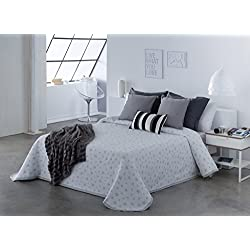 COTTON ART- Colcha PIQUE Mod. IZAR GRIS cama de 150 ( 250 x 260 cm) - REVERSIBLE- 25% ALGODÓN-75% POLIÉSTER