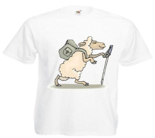 Motiv Fun T-Shirt Schafe beim Wandern Cartoon Spass Kult Film Serie Motiv Nr. 12492 Weiß