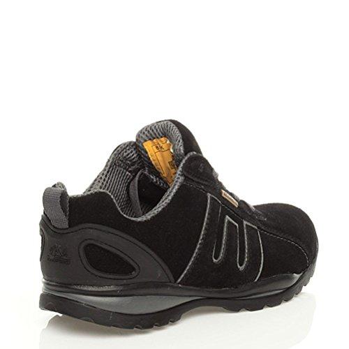 Hommes lacer ouvrier travail embout d'acier bottines sécurité baskets pointure Noir gris