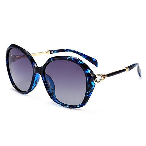 LQQAZY 2018 Stil Sonnenbrille Frauen Mode Retro Polarisierte Gläser Diamant Fahren Sonnenbrille Rundes Gesicht Flut Sonnenbrille,Black