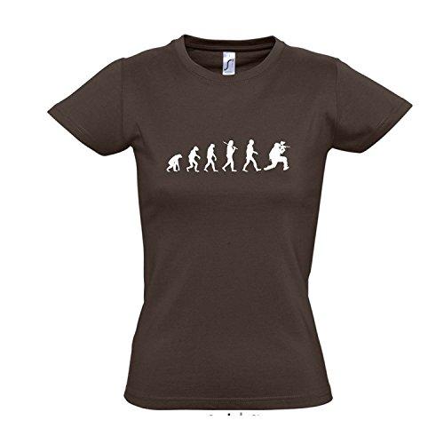 Damen T-Shirt - EVOLUTION - Paintball Sport FUN KULT SHIRT S-XXL Chocolate - weiß