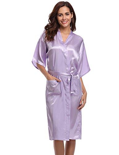 Aibrou Damen Satin Morgenmantel Kimono Lang Bademantel Schlafanzug Negligee Nachthemd Nachtwäsche Unterwäsche V Ausschnitt Mit Gürtel, Gr. XL, Farbe: Hell-Lila