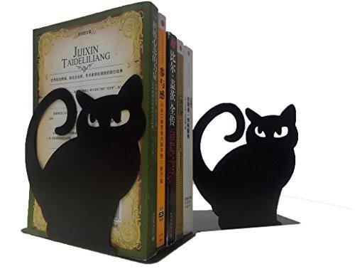 Set di 2 reggilibri decorativi a forma di gatto in metallo Nero