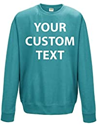 Printed Custom Personalised Sweatshirts, KIDS and ADULTS custom CREW neck 300 gsm SWEATSHIRTS with CUSTOM text print