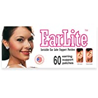 EarLite 60 parches invisibles para pendientes, soporte para lóbulo de oreja, parches impermeables en bolsa con cierre ziplock.