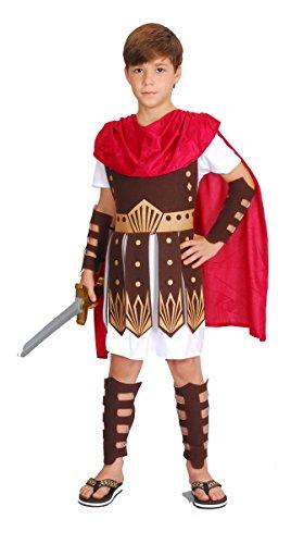 Kostüm Gladiator Jungen - KULTFAKTOR GmbH Römischer Soldat Kinderkostüm Krieger braun-Weiss-rot 134/140 (10-12 Jahre)