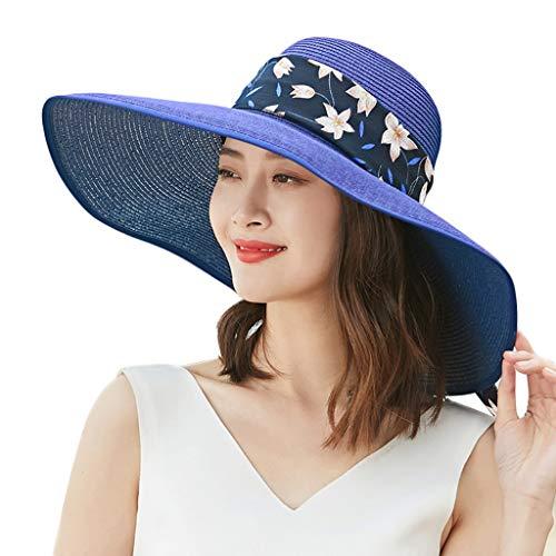ZHAS Weiblicher Sommer-Sonnenschutz, der großes Visier faltet Wild Sun Holiday Beach Travel Straw (Farbe: Blau)