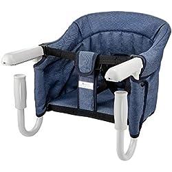 STEO Chaise Haute pour Bébé Enfant Siège, avec Ceinture De Sécurité, Stable, Sûre, Facile à Plier, Portable, Élégant, Adaptée à La Table Bleu