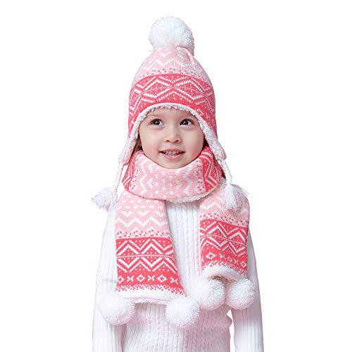 Mädchen Stricke Mütze Schal Velvet Gefüttert 2er Pack Set Winter Kinder Baby 1-2 Jahre Thermal Pom Pom Beanie Hut Halstuch Bohemian Rosa, M