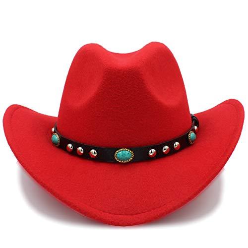 Kostüm Rote Cowgirl - SHANGGUAN Neue Cowboyhut Jazz Hut Ankunft Mode Cowboyhut Für Frauen Party Kostüme Cowgirl Roll Up Hat (Farbe : Rot, Größe : 57-58 cm)