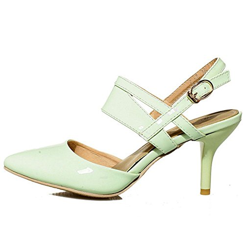 COOLCEPT Femmes Mode Pointue Mince Talons Moyens Sandales for Soiree Travail Mini Size Light Vert