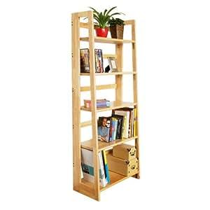 Premier Housewares 5-Tier Folding Shelf Unit, Rubberwood, 147 x 58 x 30 cm