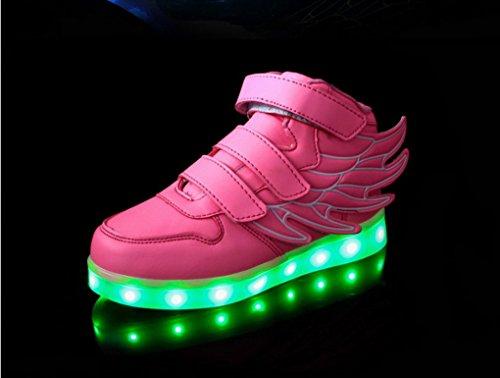 ACME - Unisexe Enfant Baskets Lumineuses Chaussures de Sport Clignotantes avec 7 Couleurs LED Colorés USB rechargeable Style d'ailes d'ange pour Fille Garçon Rose