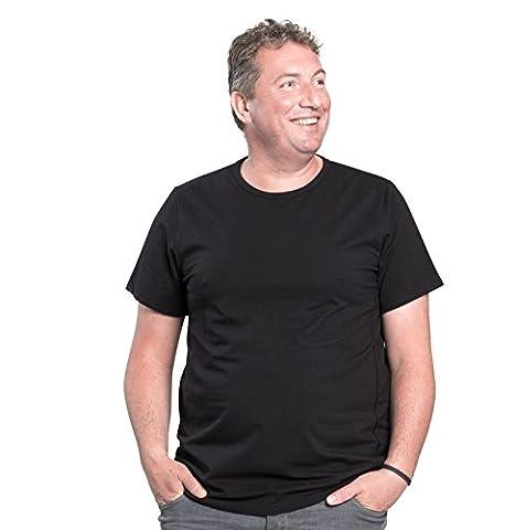 Lot de 2 T-shirts Alca Classic , Col rond , Tailles XL-B - 8XL-B Des Tshirts spécialement conçus pour les hommes avec une taille « 112 - 178 cm » de ventre en plus (6XL-B, noir)