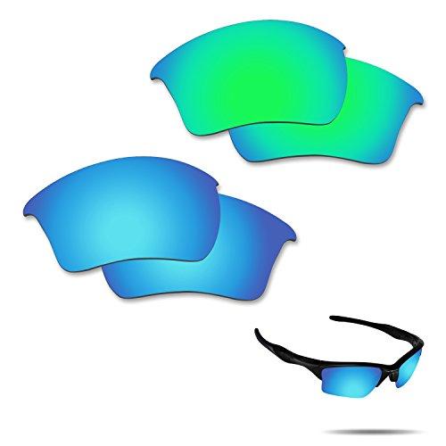 fiskr anti-saltwater Polarisierte Ersatz Gläser für Oakley Half Jacket 2.0XL Sonnenbrille 2Paar verpackt, Ice Blue & Emerald Green