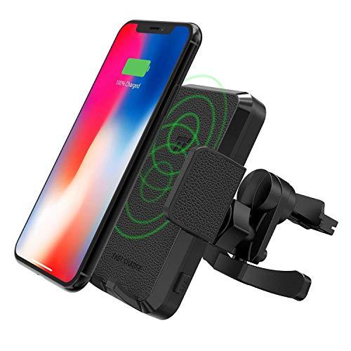 TaoTronics Wireless Charger Auto Handyhalter fürs Auto Lüftung, KFZ Induktives Ladegerät, Schnellladende Handyhalterung für Galaxy S9 S8+ S7 Edge S6 Note 8 und Standard-Laden für iPhone X 8 Plus