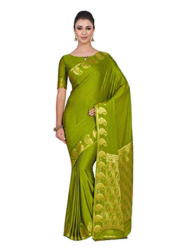 Art Crape Silk Wedding Saree Kanjivarm Style with Running Blouse Color: Green Olive Green Silk Saree