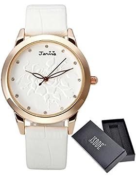 JSDDE Uhren,Fashion Damen-Armbanduhr Relief Rose Blume Zifferblatt Armbanduhr mit Strass Annalog Quarzuhr,Weiss
