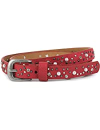 e57019a7980b3c styleBREAKER schmaler Gürtel mit Nieten, Perlen und Strass, Vintage  Nietengürtel, kürzbar, Damen