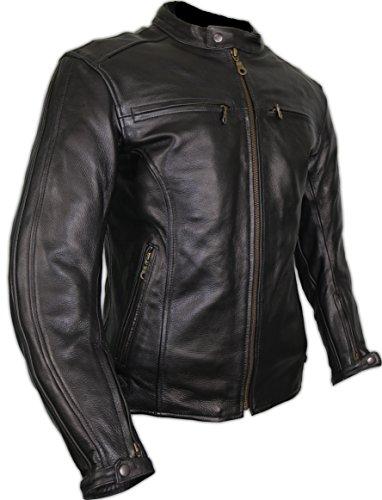 *Herren Lederjacke, Motorrad Lederjacke, Bikerjacke, Rind Leder, (M)*