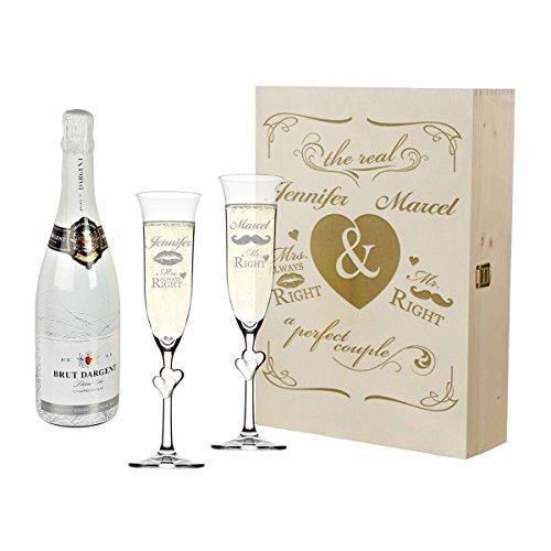 4 pièces Champagne ? Coffret Cadeau de mariage avec gravure personnalisée Mr & Mrs. Right - Sektgläser mit satiniertem Herzen