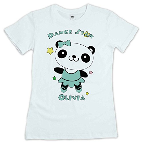 Cute Dancing Star Panda Kids T Shirt Personalised With Your Childs Name. Avalable In Sizes 2 to 12 yrs