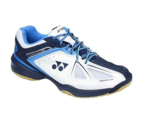 YONEX SHB 34 EX Power Kissen Herren Badminton Court Squash Schuhe, Color- White/Blue, Shoe Size- 9 UK