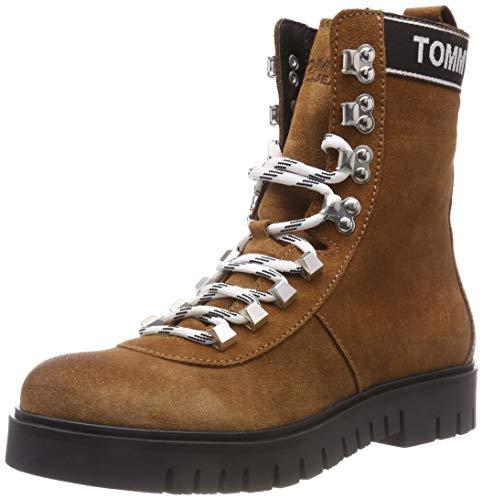 Hilfiger Denim Damen Hiking Tommy Jeans Combat Boots, Braun (Winter Cognac 906), 42 EU